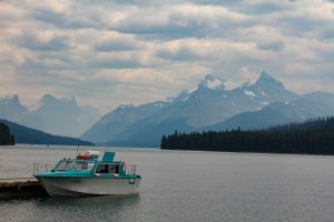 Maligne Lake Boats with mountains behind