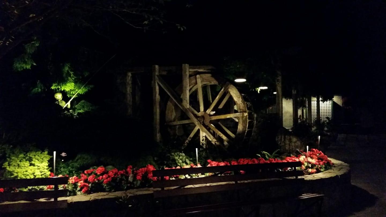 Waterwheel Square at night